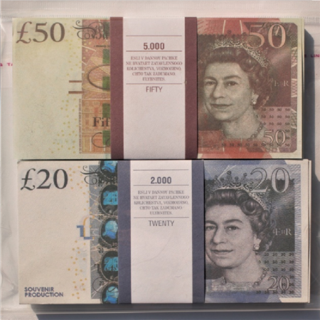 Kit prop money British pounds