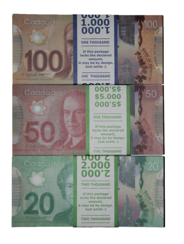 Kit prop money Canadian dollars