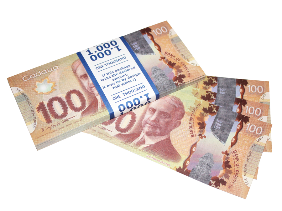 NEW 100 Canadian dollars prop money stack