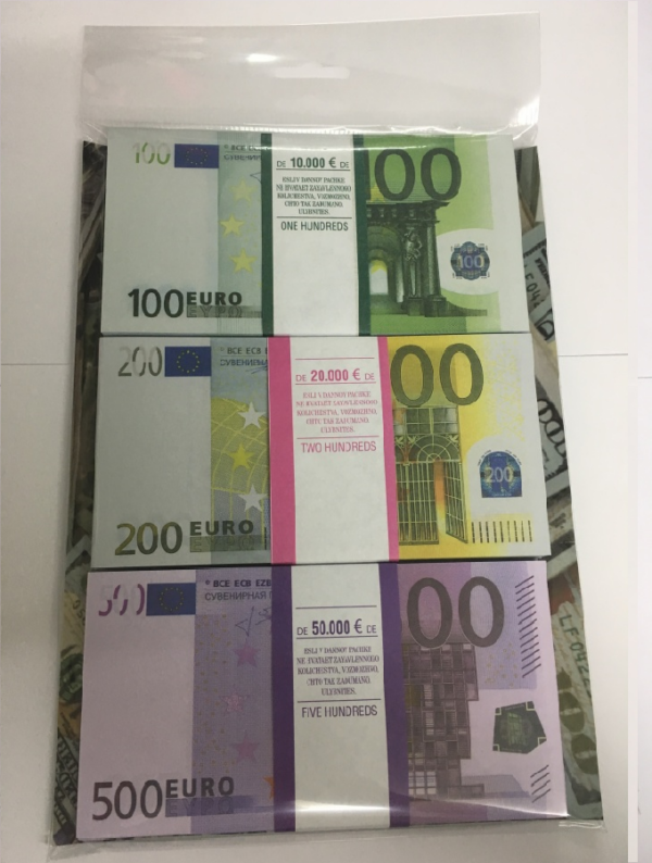 Kit prop money Euros 100, 200, 500