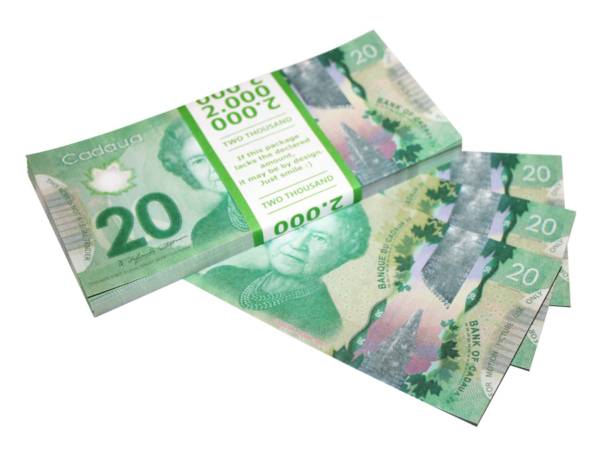 NEW 20 Canadian dollars prop money stack