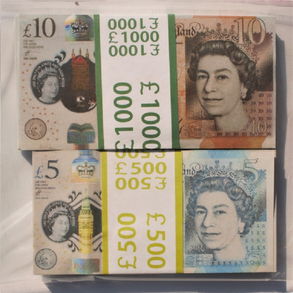 Kit prop money British pounds 10, 5