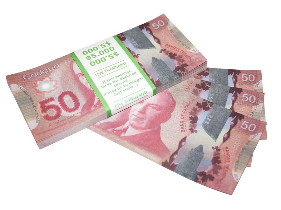 NEW 50 Canadian dollars prop money stack