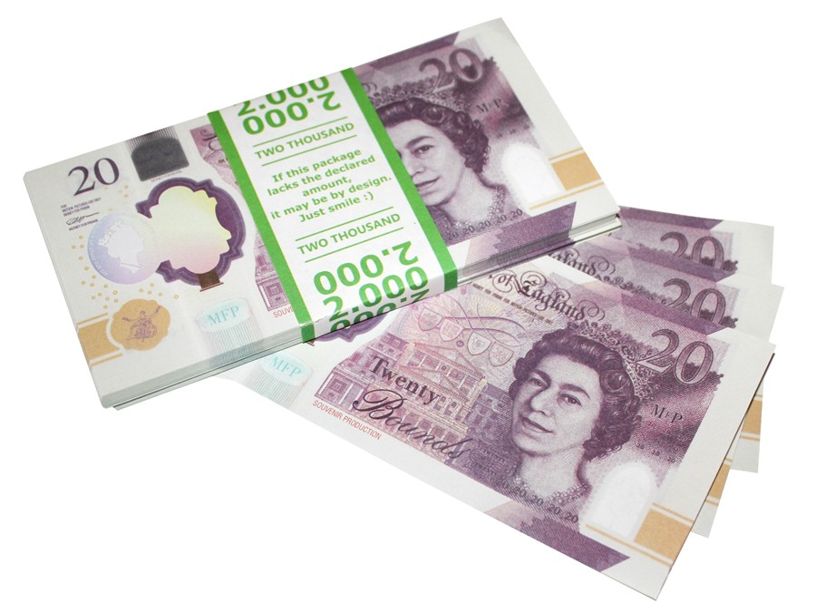 NEW 20 British Pounds Prop Money Stack
